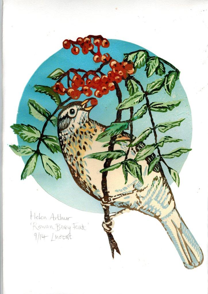 Skirrid Print Studio A lino print of a thrush eating berries