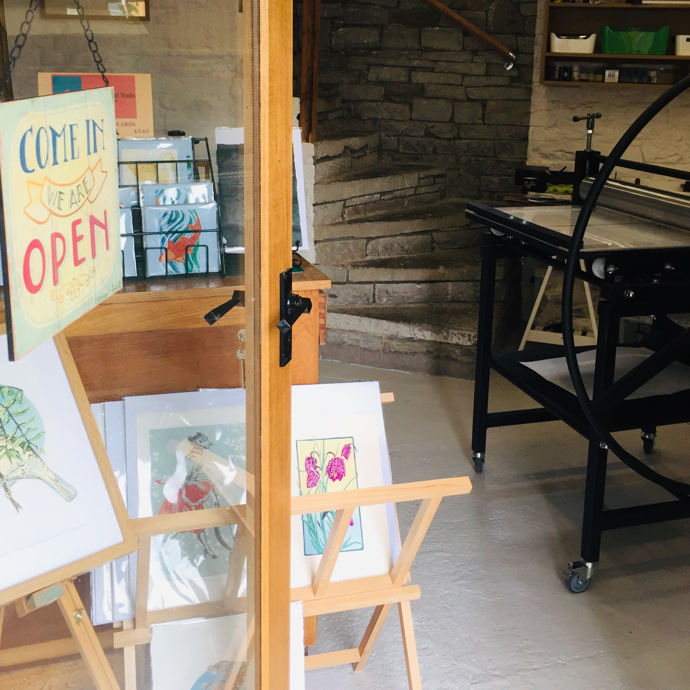 Photo of Skirrid Print Studio shop and 'Dolly'