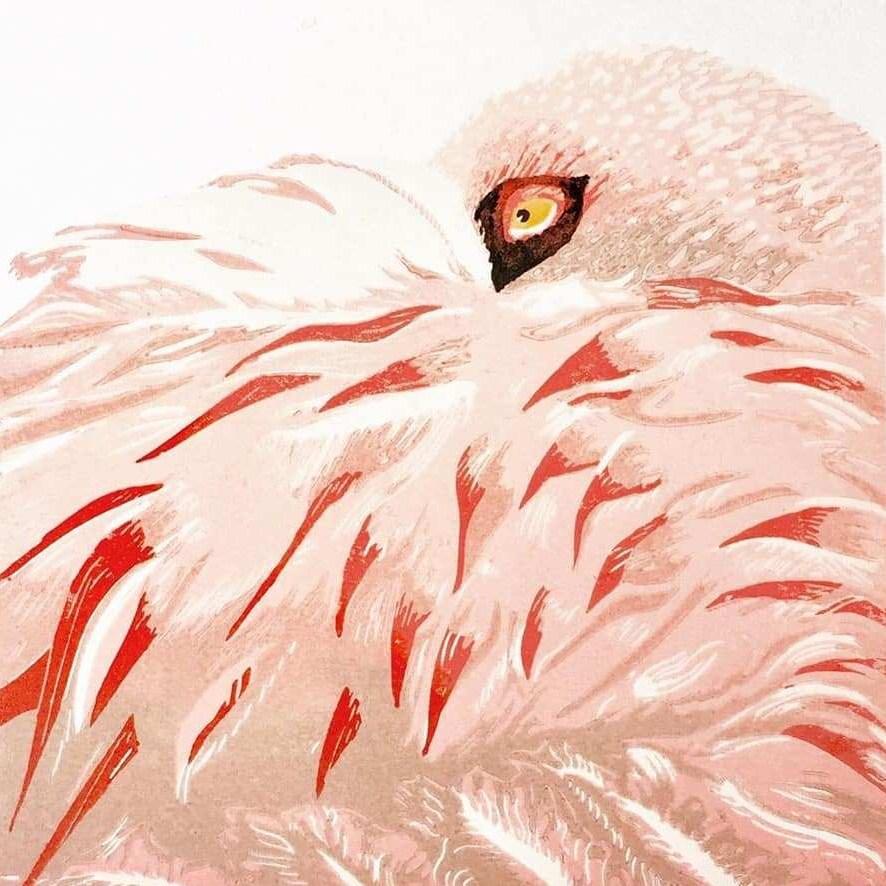 Artwork showing a flamingo by Helen Arthur