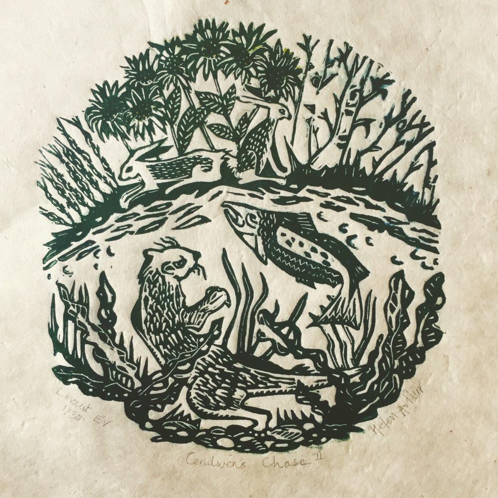 Linocut print, circular design, by Helen Arthur
