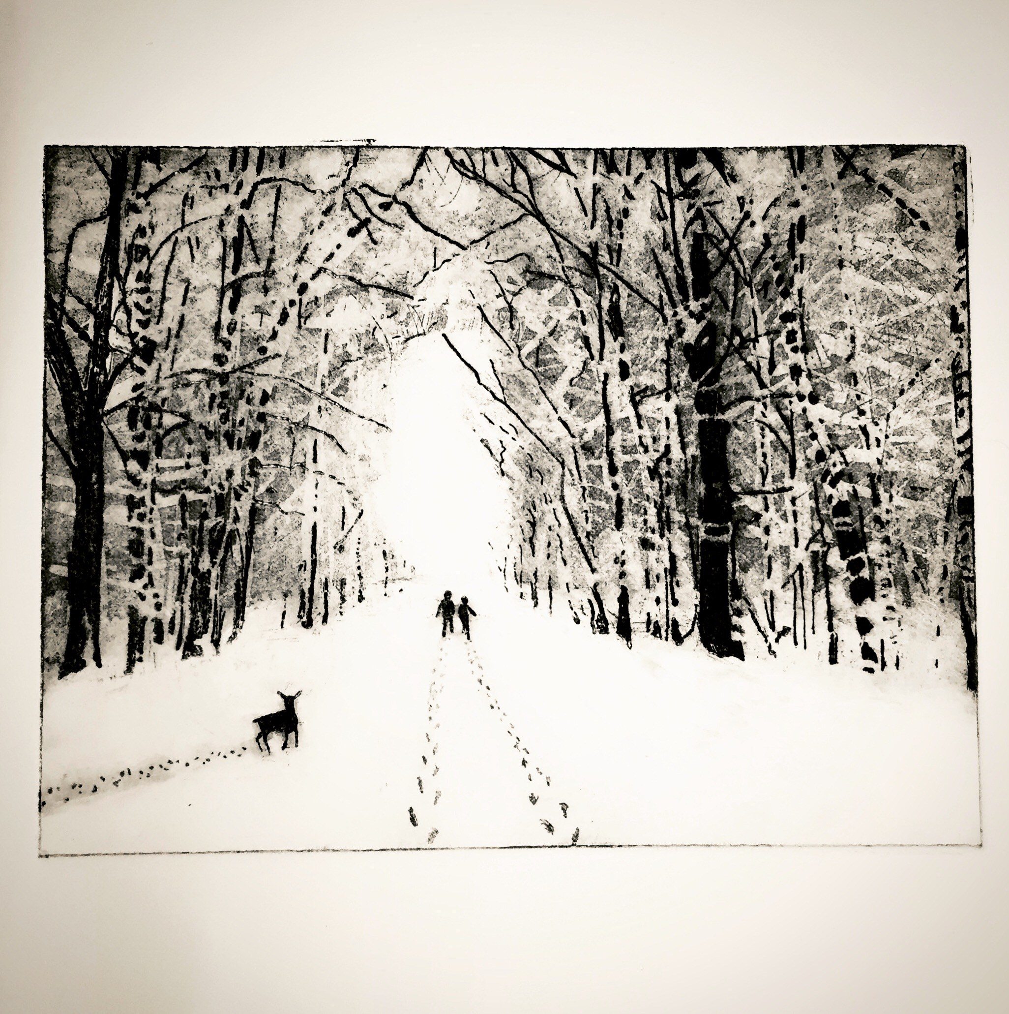 Artwork, monochrome etching by Helen Arthur