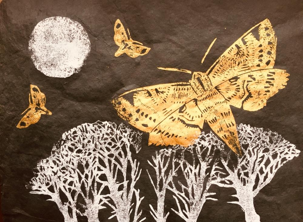 Skirrid Print Studio golden moths in moonlight