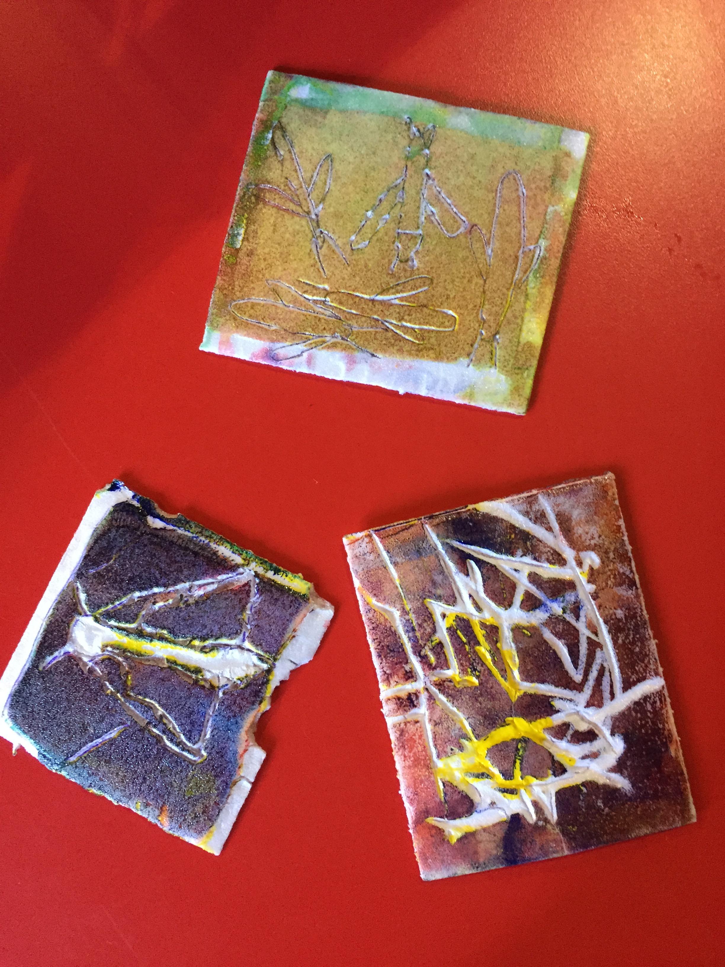 Photo of plates made in a print workshop run by Skirrid Print Studio at the Hub in Peterchurch - printing designs of moths