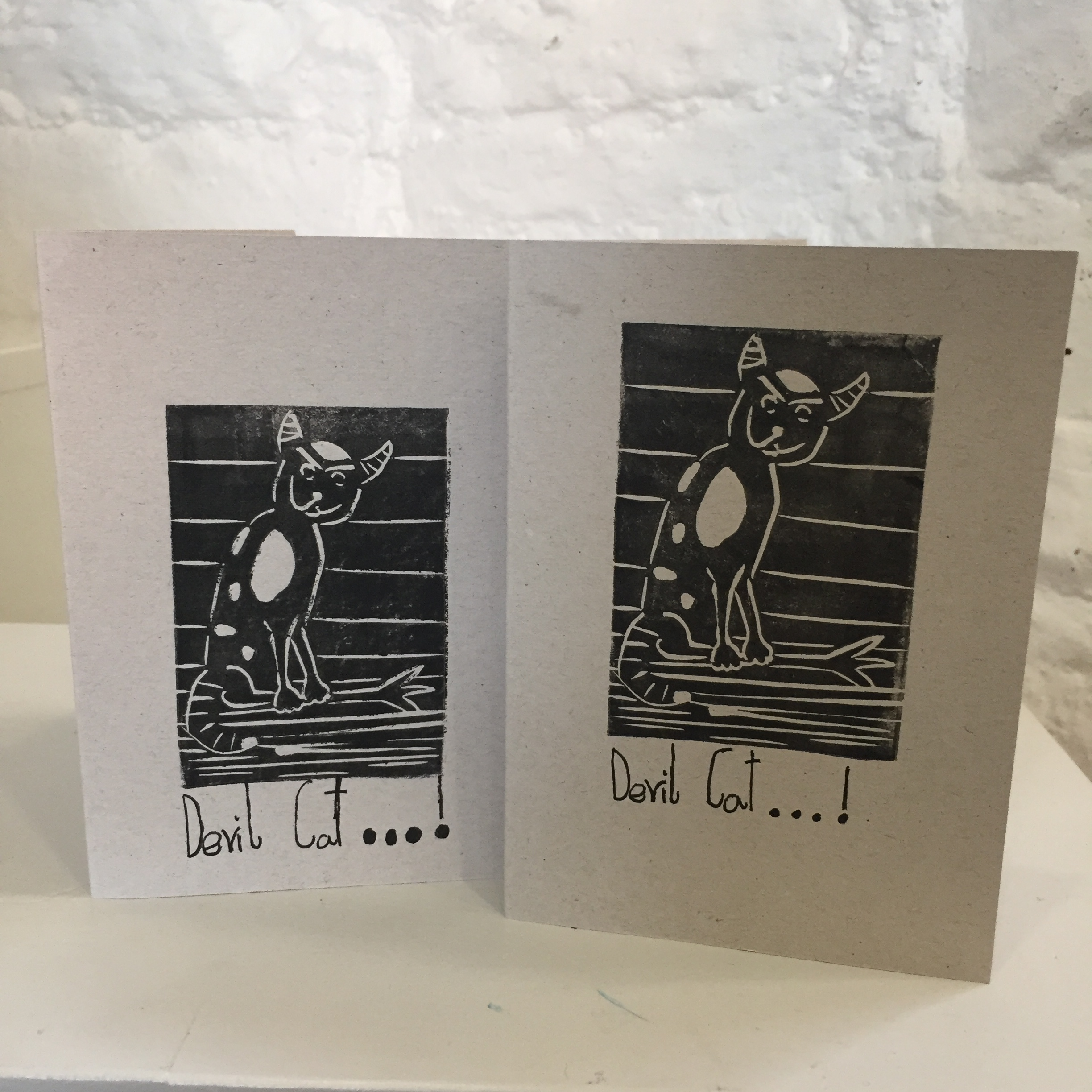 Skirrid Print Studio - young students A6 card design showing a devil cat