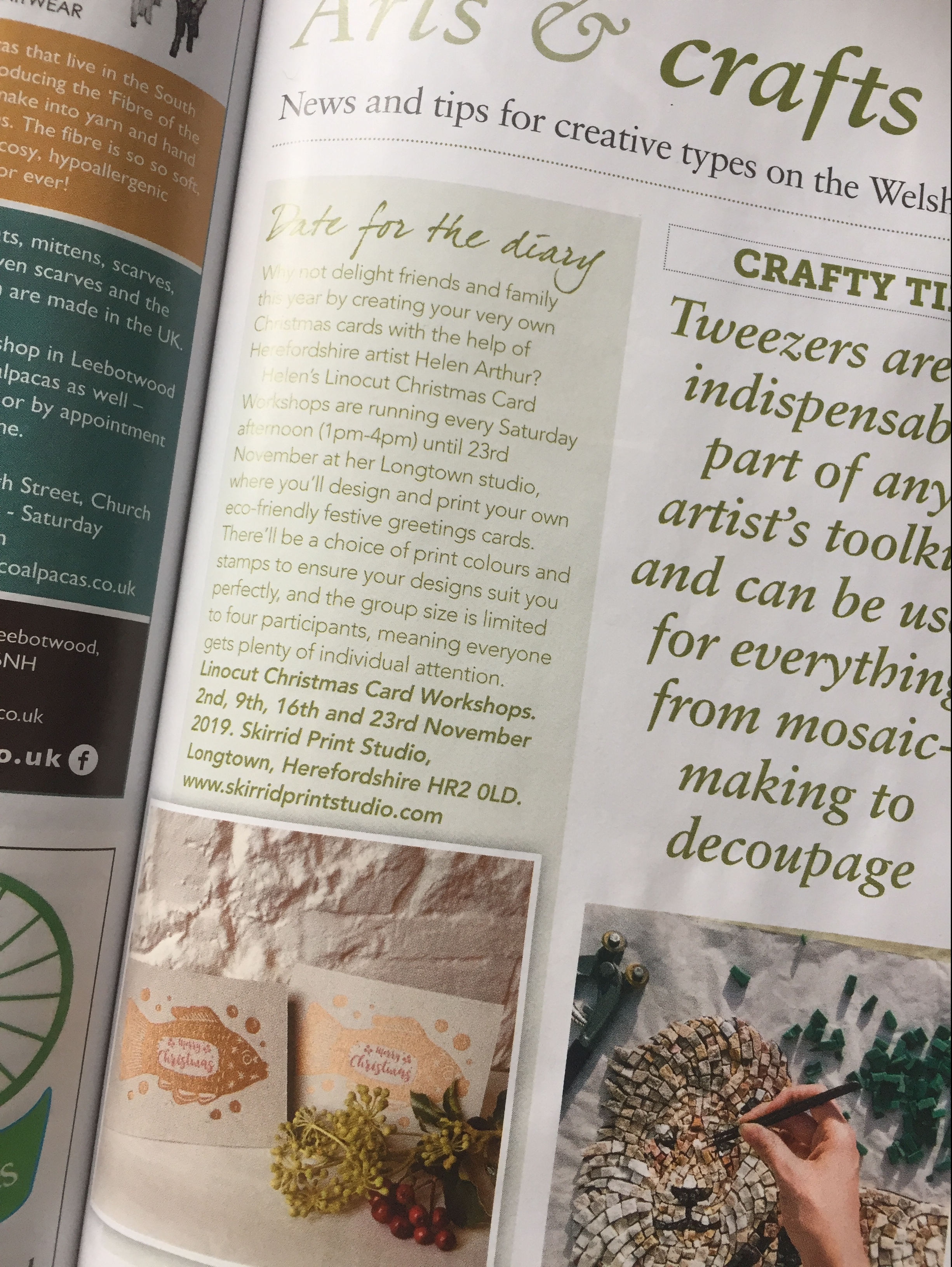Close up of Arts and Crafts section of Welsh BorderLife magazine
