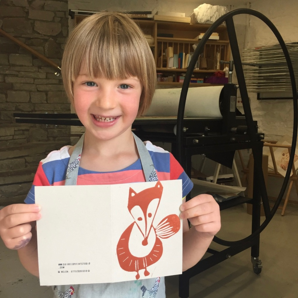 Skirrid Print Studio fox workshop 5 year old printmaker