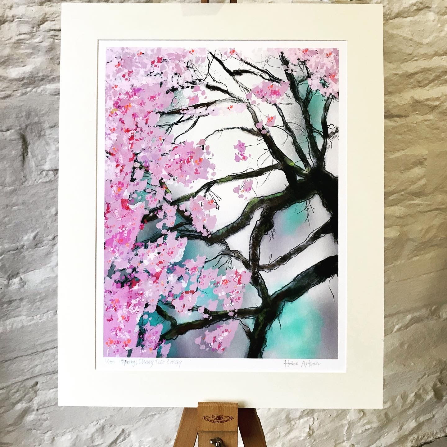Skirrid Print Studio cherry tree blossom print mounted on artists easel by Helen Arthur