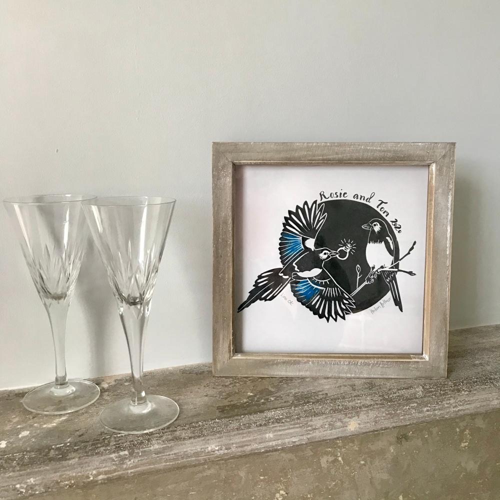 Skirrid Print Studio personalised engagement gift linocut print on mantlepies magpies